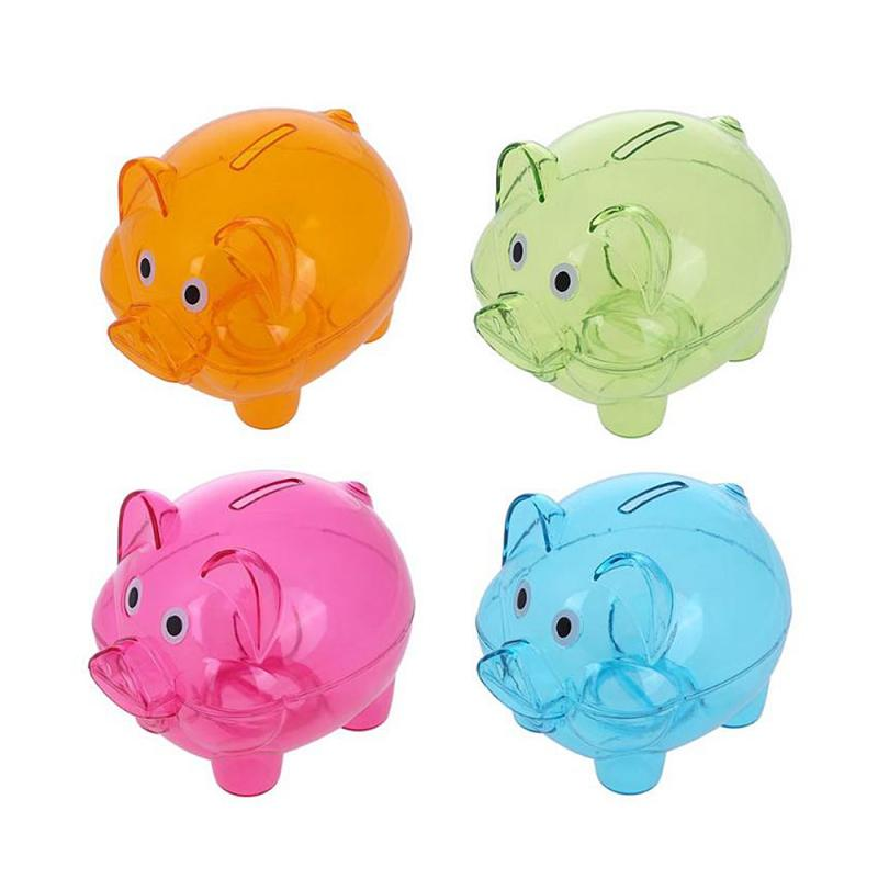 Clear Piggy Banks Educational Kids Party Coin Money Cash Collectible Saving Box