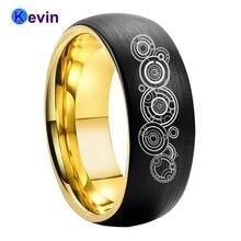 Обручальное кольцо из карбида вольфрама черного золота 8 мм