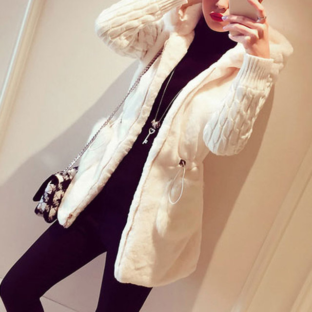 Fashion Faux Fur Coats Women 2020 Winter Plus Size S-4XL Hooded Classic Outwear Patchwork Thick Warm Luxury Knitted jacket 5