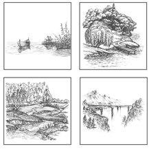 Azsg пейзаж живопись прозрачные штампы/печать для diy скрапбукинга
