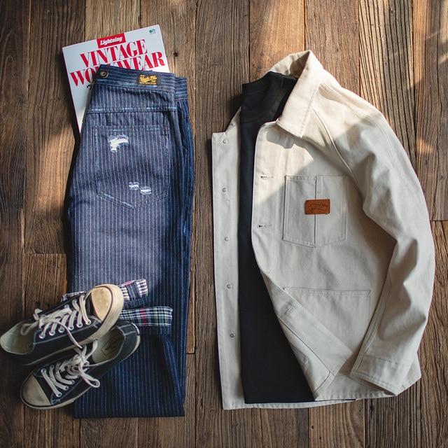 Maden Men's Retro Casual Blue Striped Pants Scottish plaid hem Regular Straight Fit Denim Work Pants With Detachable Suspenders 2