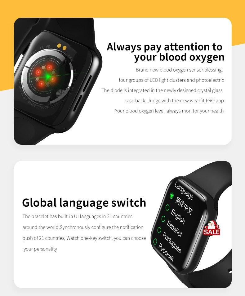 H1c315cef0b834cc9bb082623c7fba699O Original HW16 44mm Smart Watch Series6 Men 320*385 Screen Custom Picture Smartwatch Women BluetoothCall 2021 pk FK88 IWO13 W46