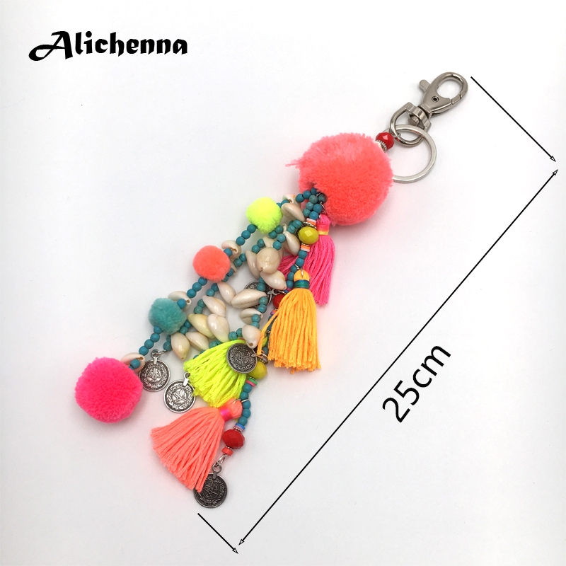 Handmade Keychain Bohemian Pompom Colour Natural Stone Beads Boho Ethnic Style Statement Fashion Bag Pendant Gifts for Women in Key Chains from Jewelry Accessories