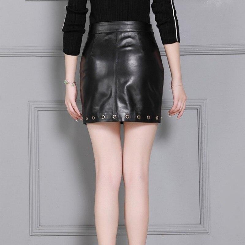 Sexy Office Ladies Mini Wrap Skirt Women Work Slim Fit Top Quality Sheepskin Genuine Leather Bodycon Pencil Skirt Big Size S-4XL