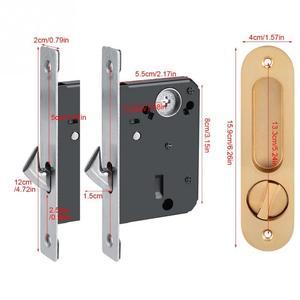 Image 5 - スライドドアロックハンドル盗難防止のためのキー納屋木製家具ハードウェアドアラッチロックダブルドア cerradura
