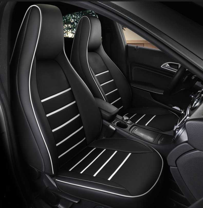 Full Set Mercedes C Class Coupe GREY//BLACK Leather Look Car Seat Covers