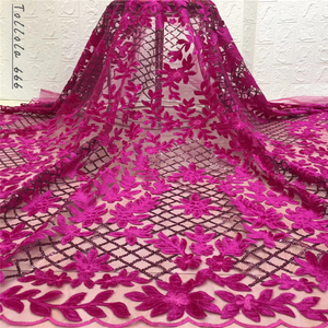 Image 1 - Nigerian Lace Fabric 2019 High Quality Sequin Velvet Lace Fabric Fuchsia Embroidered Tulle African Velvet Lace Fabric