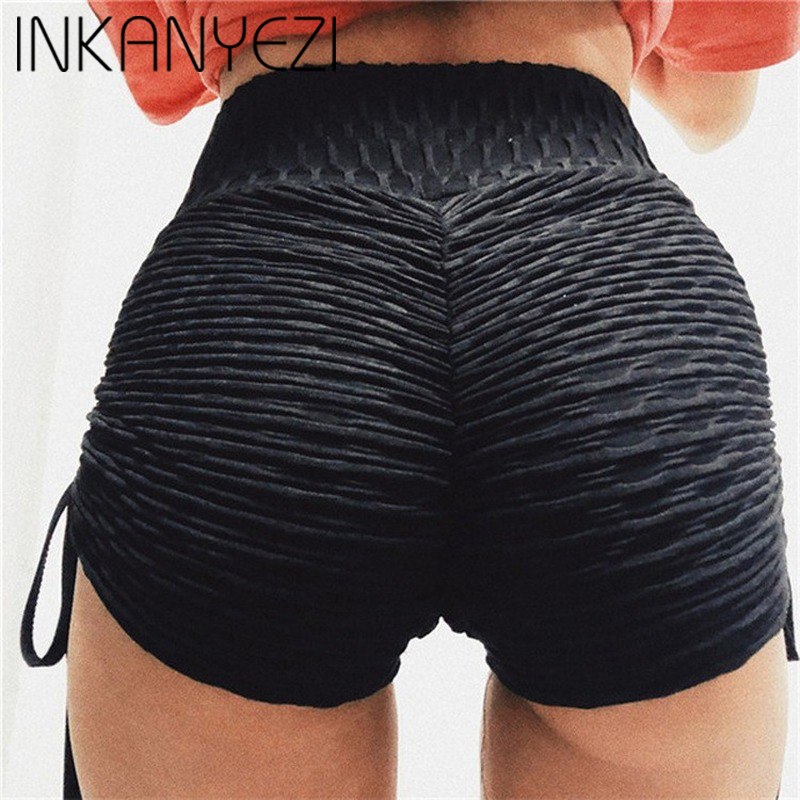 CHRLEISURE Polyester Shorts Women High Waist Solid Slim Fold Elasticity Comfortable Push Up Streetwear Girl Shorts Fitness -80