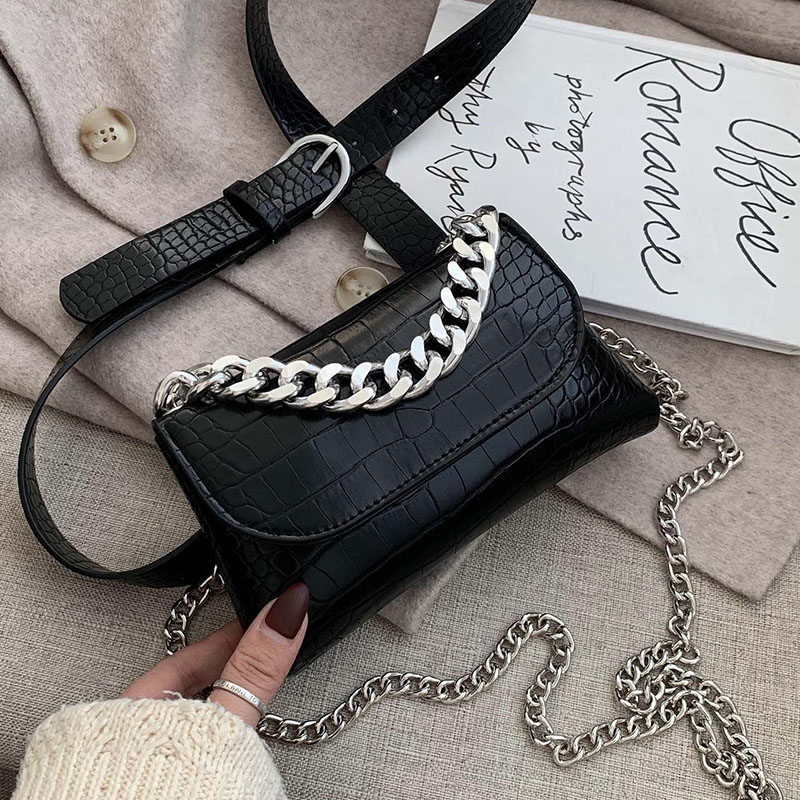 Women's Waist Bag Belt Bags Fashion Chain Fanny Pack Brand Designer Waist Pack Crossbody Bag High Quality Crocodile Phone Pack