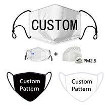 2d 3d máscaras faciais personalizadas reutilizáveis lavável máscara facial máscara facial máscara de pano preto logotipo anime carta foto estrela impressão