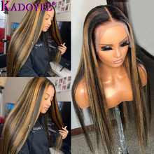 Straight Lace Front Human Hair Wig With Highlights Ombre Brown Lace Wig Pre-plucked Brazilian Remy 13x4 Lace Front Wig for Women ombre lace front human hair wig for black women colored deep wave wig 13x4 brazilian hair frontal wig pre plucked remy brown wig