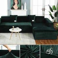 Peluche tissu élastique housse de canapé solide L forme canapé couvre velours pour salon Stretch housse de canapé avec taie d'oreiller