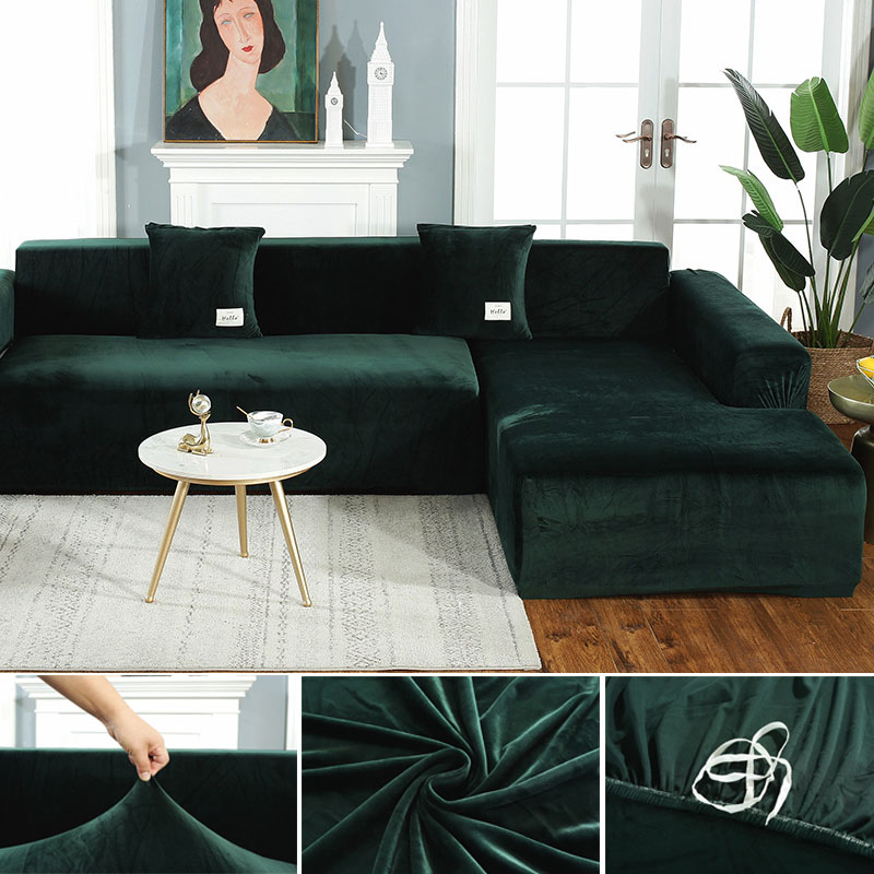 Plush Fabirc Elastic Sofa Cover Solid L Shape Sofa Covers Velvet For Living Room Stretch Slipcover Couch Cover With Pillowcase