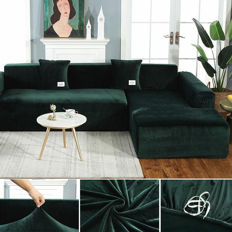 Plush Fabirc Elastic Sofa Cover Solid L shape Sofa Covers velvet for Living Room Stretch Slipcover