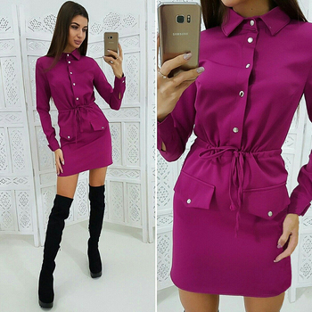 Women Casual Sashes Button Sheath Dress Turn Down Collar Long Sleeve Solid Dress 2019 Autumn Fashion Vintage Elegant Mini Dress 3