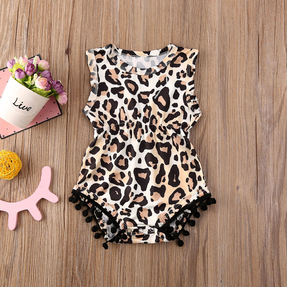 Pudcoco Newborn Baby Girl Clothes Leopard Sunflower Print Sleeveless Tassel Romper Jumpsuit One-Piece Outfit Sunsuit Clothes