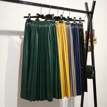 LANMREM 2019 autumn fashion new PU leather pleated skirt elastic high waist all-