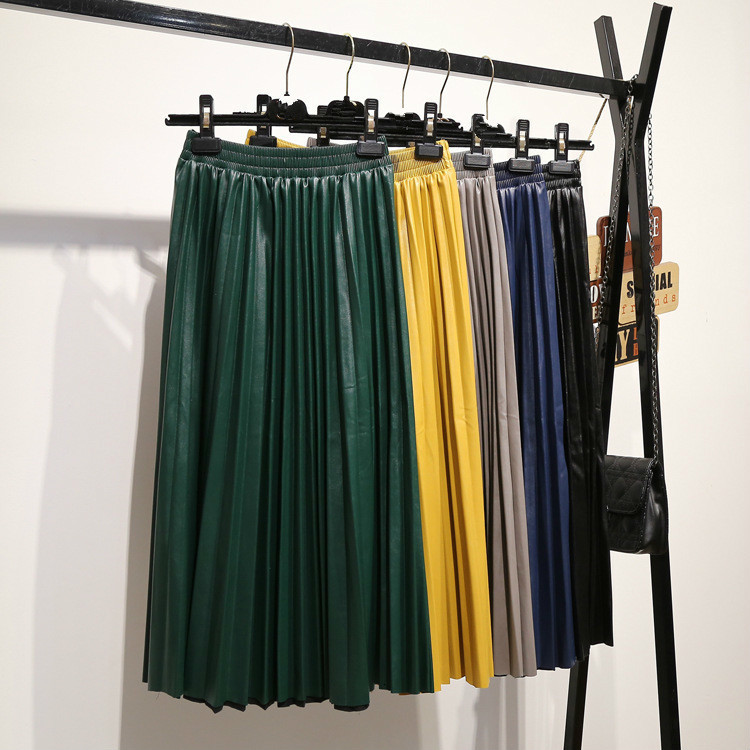 LANMREM 2020 autumn fashion new PU leather pleated skirt elastic high waist all-match female's bottoms YF342 image