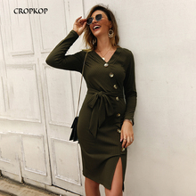 Women Sexy V-neck Knit Dress Casual High Waist Long Sleeve Dress Slim Work Wear Office Dress 2019 Autumn And Winter New Vestidos surplice high waist knit dress