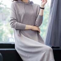 MEVGOHOT Women Long Sleeve Knitted Dress Plus Size Hoodies Autumn Winter Warm Loose Casual Dress Femme Sweater Dress HD1271