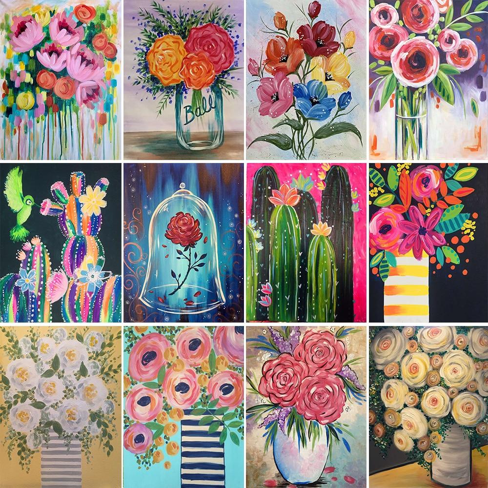 5D DIY Diamond Painting Vase Flower Rose Chrysanthemum Cross Stitch Kit Full Diamond Mosaic Picture Home Decoration Gift