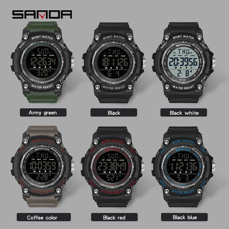 Top marque montre-bracelet 50M étanche hommes montres chronomètre Quakeproof numérique montre mode homme sport horloge SANDA montres cadeau 2