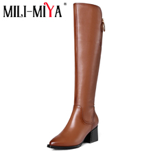Shoes Long-Boot-Thick Riding Knee-High Genuine-Leather Women Heel Pointed-Toe Zipper