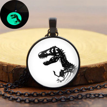 Charm Dinosaur Pattern Luminous Pendant Necklace Classic Women Men Fashion Glow In The Dark Necklace Jewelry for Party Gift new luminous stone necklace fashion hollow animal shape glow in the dark pendant necklace charm halloween jewelry for women gift