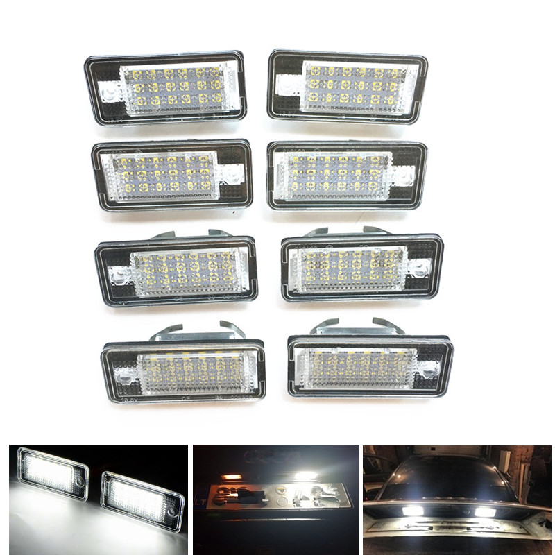 1/2/4 Pair For A4 S4 B6 B7 A6 S6 C6 A3 S3 <font><b>A8</b></font> S8 <font><b>D3</b></font> Rs4 Rs6 Avant Q7 Canbus No Error Car <font><b>LED</b></font> License Number Plate Lights 12V Lamp image