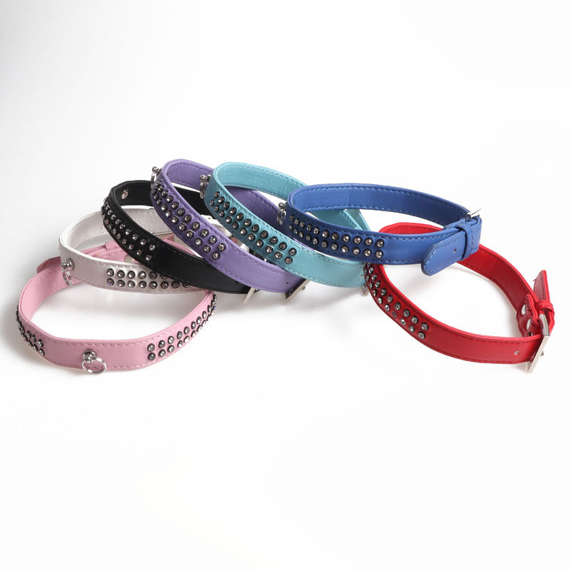 Jin Jie Te Pet Collar And Medium-sized Dog Neck Ring Dog Neck Ring With Diamond Pu Textured Multi-color Selectable