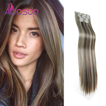 16-Clip Wig Hair-Extension Straight Long Female AOOSOO High-Temperature-Fiber Synthetic