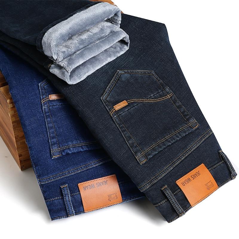 Autumn And Winter Hot Selling Men's Thick Warm Plus Velvet Jeans Men's Elasticity Straight-Leg Trousers Business Korean-style Me