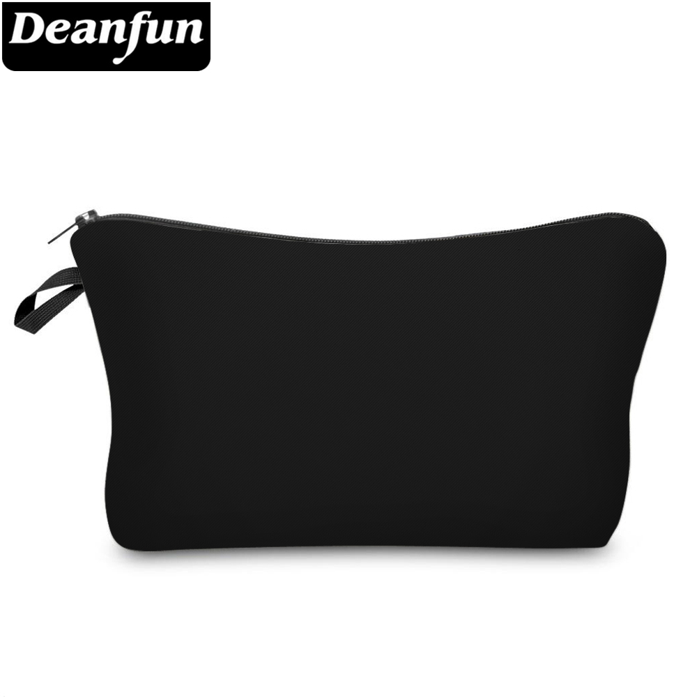 Deanfun Pure Black Small Makeup Bag Waterproof Girls Gift Cosmetic Bags For Women Storage Travel Bags 51705