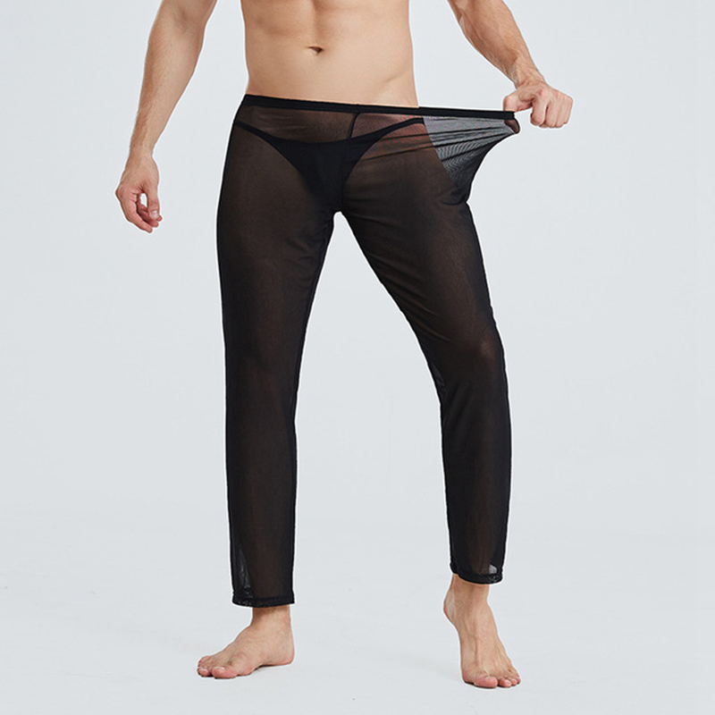 Sexy Mens Sheer Mesh Long Johns Pants Transparent Thin Pajamas Trousers Breathable Underwear Nightwear Fetish Leggings Sleepwear
