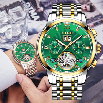 Relogio Masculino LIGE New Green Business Mens Watches Top Brand Luxury LIGE Fashion Sport Tourbillon Automatic Mechanical Watch hot brand ouyawei mens luxury tourbillon auto mechanical wrist watches stainless steel business mens watches relogio masculino