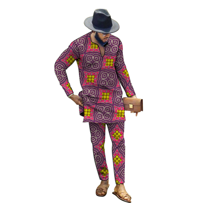African Clothing Men's Print V-neck Shirts With Trousers Custom Made Fashion Pant Sets Groom Suits Male Ankara Outfits
