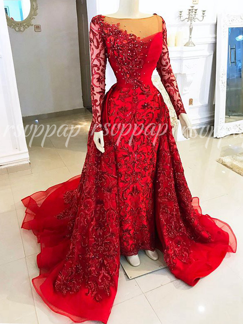 Long Sleeve Sexy Mermaid African Red Sequin Evening Dresses 2019 Detachable Train Formal Women Party Evening Gowns