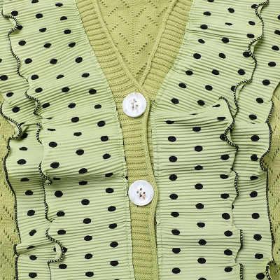 Makuluya kadın avokado yeşil siyah beyaz Polka Dot yüksek sokak Patchwork tatlı örme tüm maç kazak kısa hırka L6