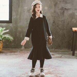 Image 1 - Midi Dress Girls Elegant Dress 2020 Winter Fishtail New Mommy and Me Clothes Kids Dress Children Baby Princess Dress Warm,#5446