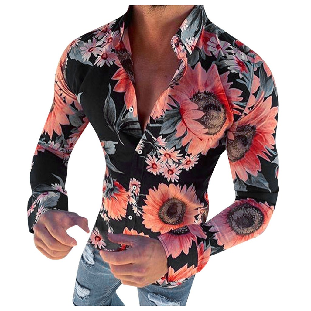 Men Shirt Causal Long Sleeve Flower Printed Shirt Fit Slim Blouse Top Hawaiian 3XL Plus Size Streetwear Camisa Masculina Autumn