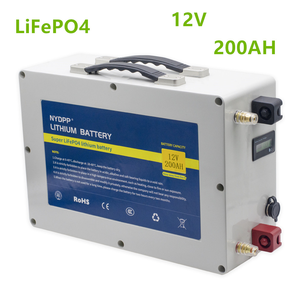<font><b>12V</b></font> Lifepo4 <font><b>200ah</b></font> lifepo4 <font><b>battery</b></font> pack <font><b>12v</b></font> <font><b>200AH</b></font> LiFePO4 lithium <font><b>battery</b></font> pack with 20A <font><b>charger</b></font> for RV, inverter,solar energy image