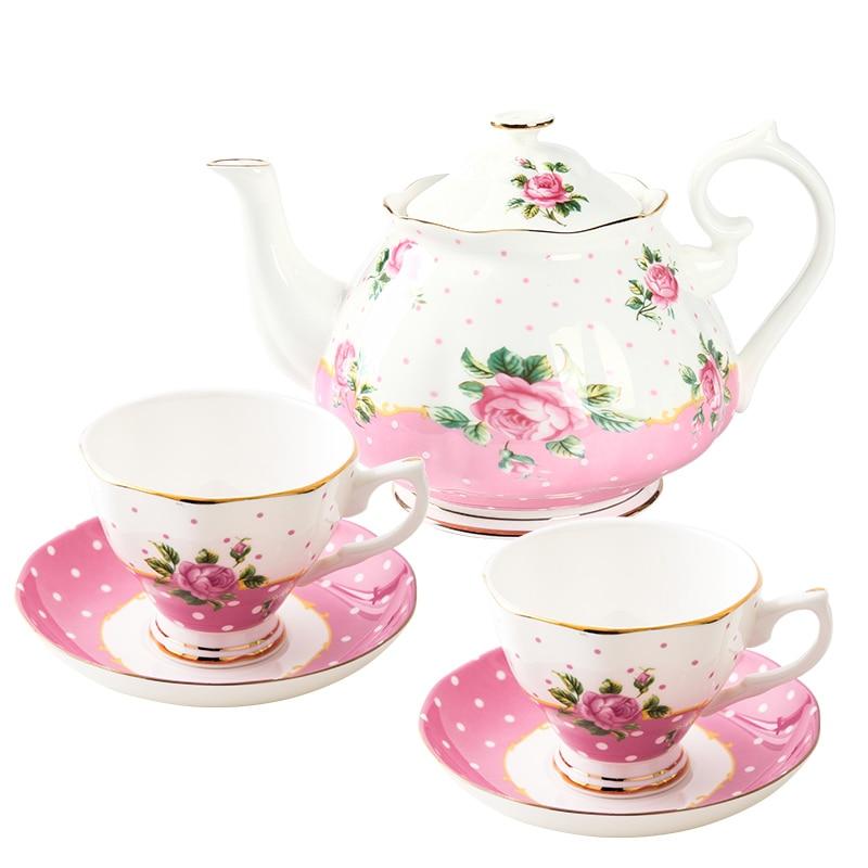 핑크 도트 디자인 선물 세트 세라믹 머그잔 & 세라믹 티 컵 세트