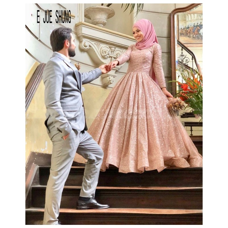 E JUE SHUNG Shining Rose Gold Sequin Muslim Wedding Dresses High Neck Long Sleeves Arabic Islamic Ball Gown Bridal Gowns Mariage