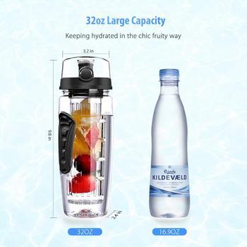 Water Bottle Fruit Infuser 32OZ BPA Free Gym Bottle Tritan Gourde Bottle Flip Top Lid Drinkware For Travel Outdoor Sports Office 4