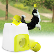 Pet dog training tool interactive automatic toy tennis ball thrower