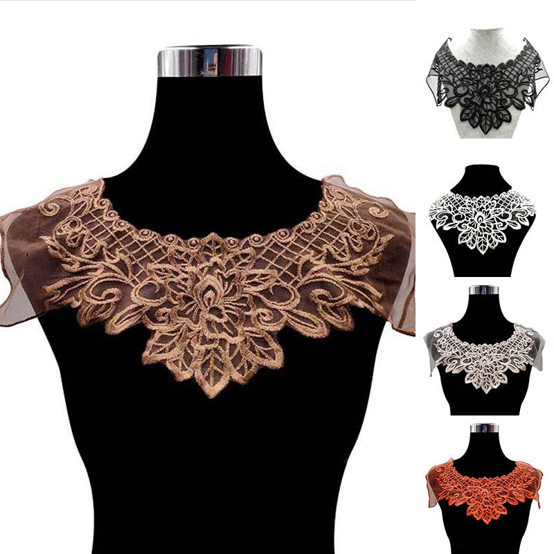 Luxury Coffee Embroidered Lace Material Collar Brooch Dress Guipure Collar Trim Applique Sewing Trimmings And Embellishments