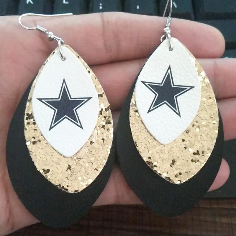 New 3D Glitters Pentagram Football Leather Teardrop Earrings Three Layers Sample Leaf Earrings We Can Make