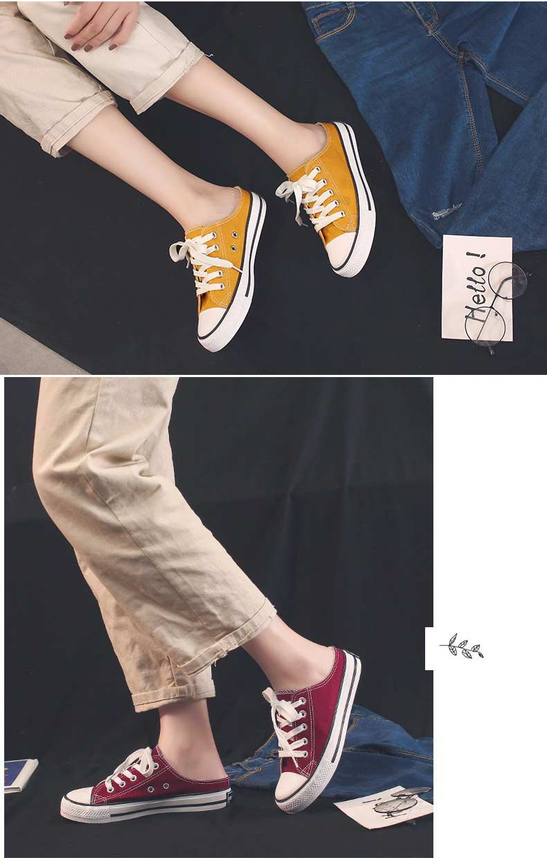 Casual half-drag canvas shoes woman 2019 new fashion solid sneakers women vulcanized shoes lace-up no heel lazy shoes flats (8)