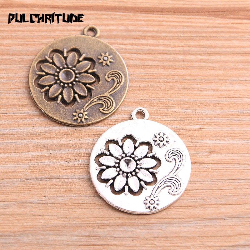 PULCHRITUDE 4 sztuk 27*31mm 2020 nowy produkt dwa kolor okrągły kwiat Charms roślin wisiorek bez wypełnienia biżuteria Metal biżuteria ze stopu znakowanie