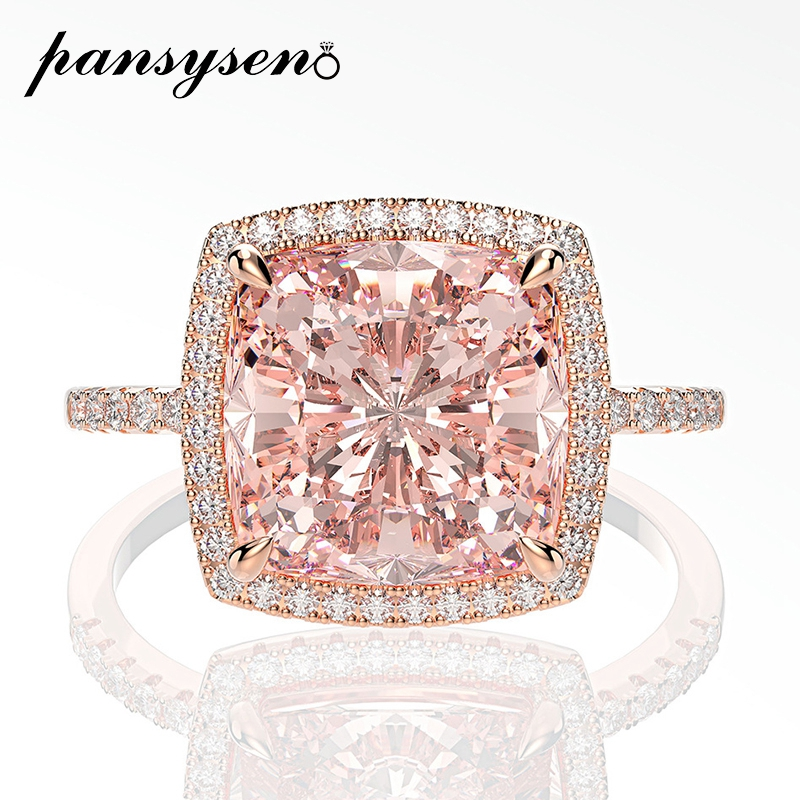 PANSYSEN 10MM Square Morganite Gemstone Rings for Women Solid 925 Sterling Silver Sparking Cocktail Ring Wedding Fine Jewelry